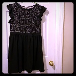 Women's black dress with lace
